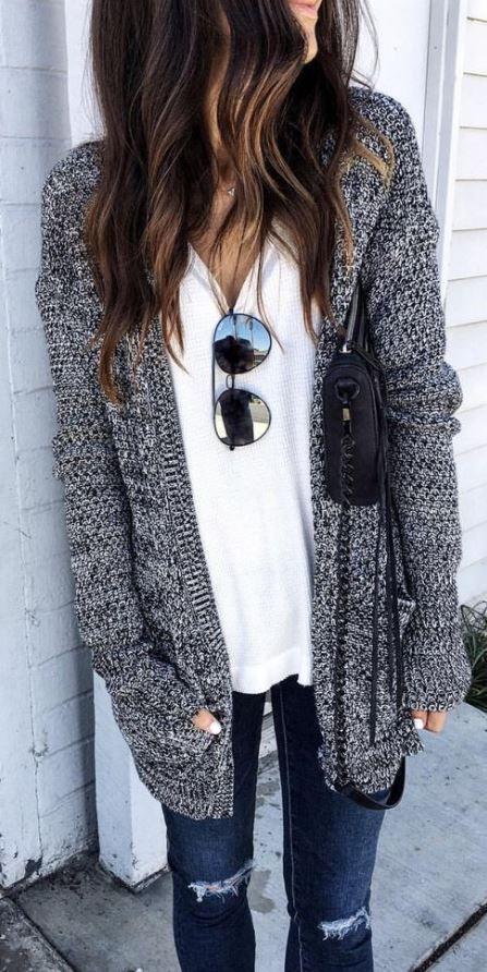 Winter White Cardigan Sweater